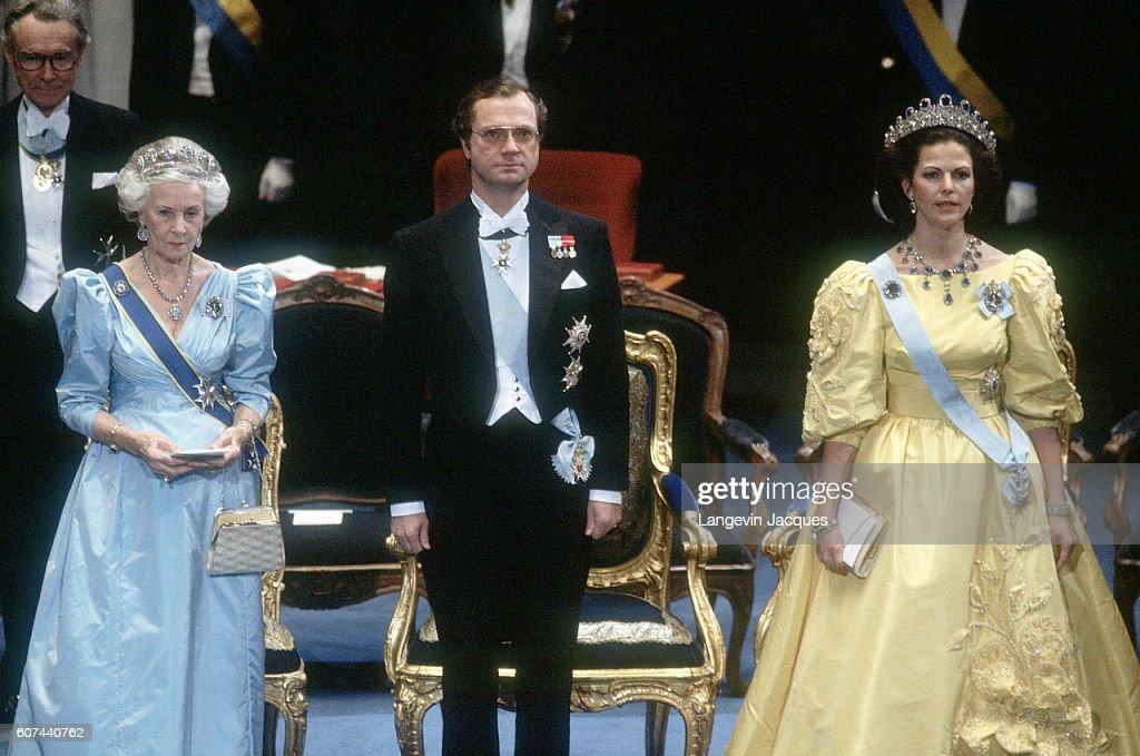 King Carl XVI Gustaf, Princess Liliane, and Queen Silvia : News Photo