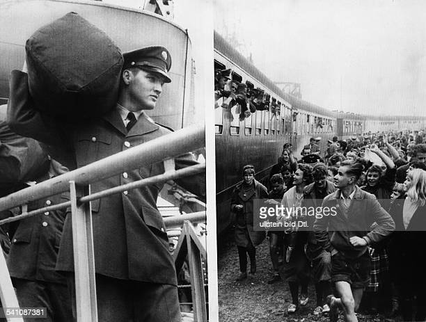 Presley Elvis*Singer actor USA left image Elvis on his arrival in Bremerhaven Germany for his military service right image cheering fans seeing off...