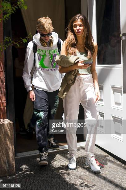 Presley Gerber and Charlotte D'Alessio are seen in SoHo on June 14 2018 in New York City