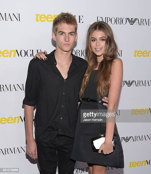 Presley Gerber and Kaia Gerber attend Teen Vogue's 13th Annual Young Hollywood Issue Launch Party on October 2 2015 in Los Angeles California