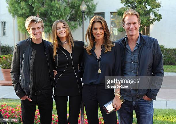 Presley Gerber Kaia Gerber Cindy Crawford and husband Rande Gerber arrive at the premiere of Lifetime's 'Sister Cities' at Paramount Theatre on...