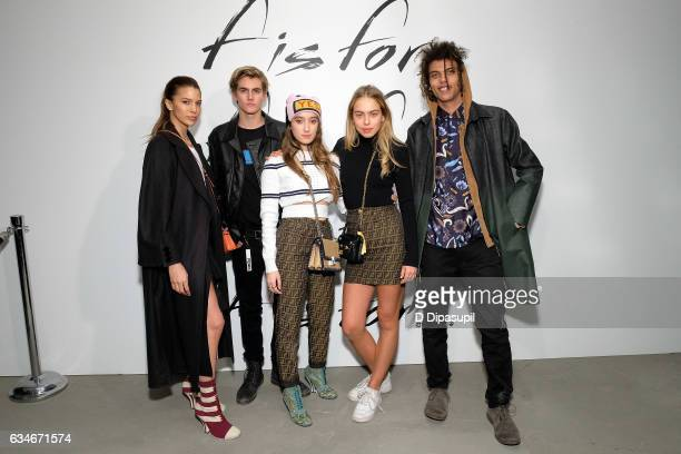 Presley Gerber , Roberto Rossellini Jr , and guests pose at the F Is For Fendi New York Fashion Week Party on February 10, 2017 in New York City.