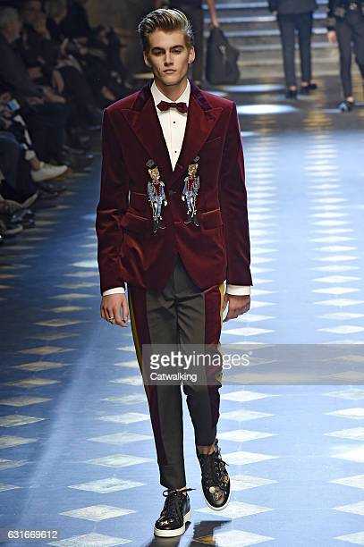 Presley Gerber walks the runway at the Dolce Gabbana Autumn Winter 2017 fashion show during Milan Menswear Fashion Week on January 14 2017 in Milan...
