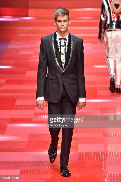 Presley Gerber walks the runway at the Dolce Gabbana show during Milan Men's Fashion Week Spring/Summer 2018 on June 17 2017 in Milan Italy