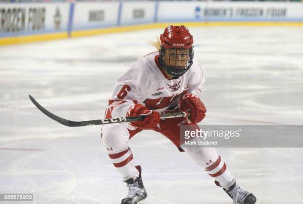 Presley Norby of the Wisconsin Badgers skates against the Clarkson Golden Knights during the Division I Women's Ice Hockey Championship held at The...