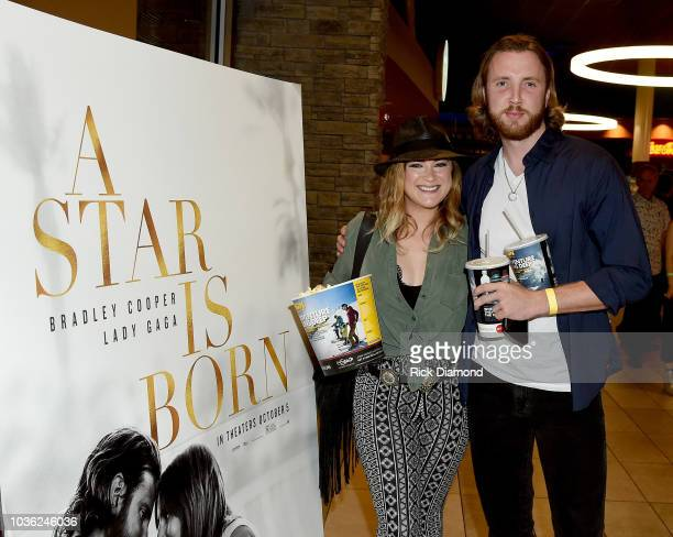 Presley Tucker and Beau Grayson Tucker attend A Star Is Born screening with Bradley Cooper and Lukas Nelson at AMC DINEIN Thoroughbred 20 in Franklin...