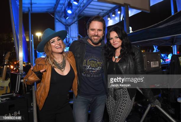 Presley Tucker Charles Esten and Spencer Bartoletti of Reverie Lane attend Charles Esten's Light The Night Walk And Light The Late Night Concert at...