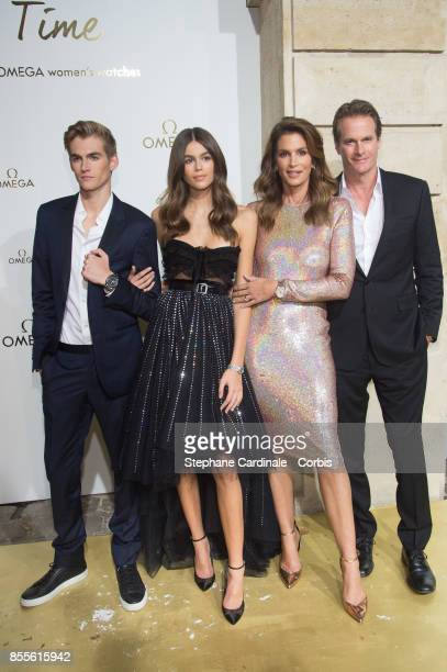 Presley Walker Gerber Kaia Jordan Gerber Cindy Crawford and Rande Gerber attend the 'Her Time' Omega Photocall as part of the Paris Fashion Week...