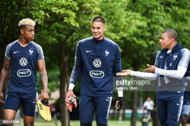 Presnel Kimpembe Alphonse Areola and Kylian Mbappe of France during a training session at Centre National du Football on May 25 2018 in UNSPECIFIED...