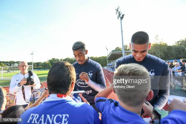 Presnel Kimpembe and Alphonse Areola of France during the training session at Centre National du Football on October 8 2018 in Clairefontaine France