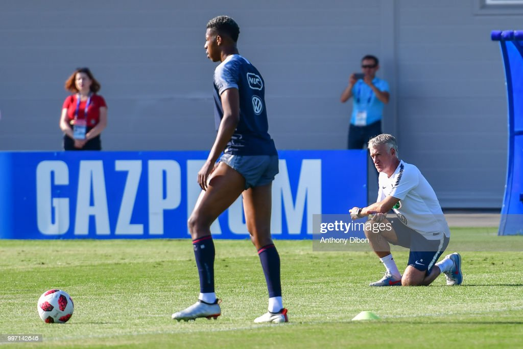 Presnel Kimpembe and Didier Deschamps coach of France during the training France on July 12, 2018 in Moscow, Russia.