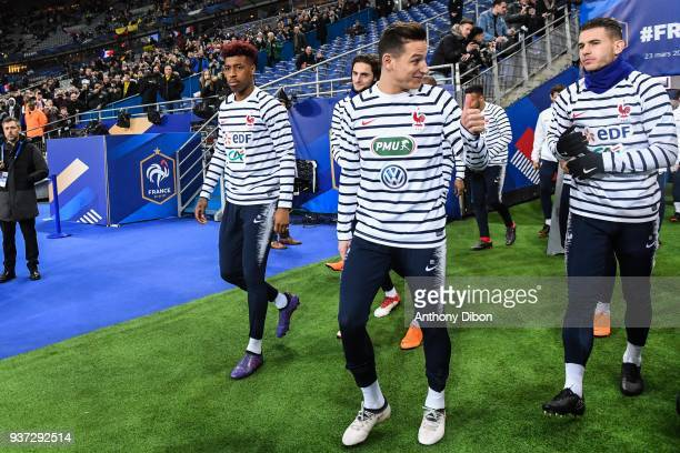 Presnel Kimpembe Florian Thauvin and Lucas Hernandez of France during the International friendly match between France and Colombia on March 23 2018...