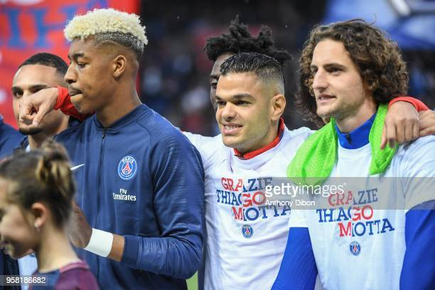 Presnel Kimpembe Hatem Ben Arfa and Adrien Rabiot of PSG during the Ligue 1 match between Paris Saint Germain and Stade Rennes at Parc des Princes on...