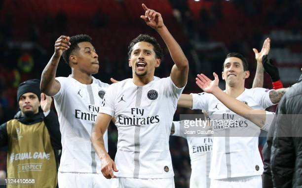 Presnel Kimpembe Marquinhos Angel Di Maria of PSG celebrate the victory following the UEFA Champions League Round of 16 First Leg match between...