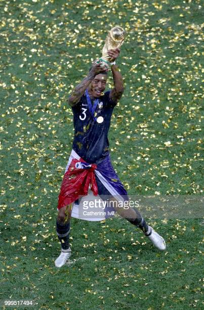 Presnel Kimpembe of France celebrates following his sides victory in the 2018 FIFA World Cup Final between France and Croatia at Luzhniki Stadium on...