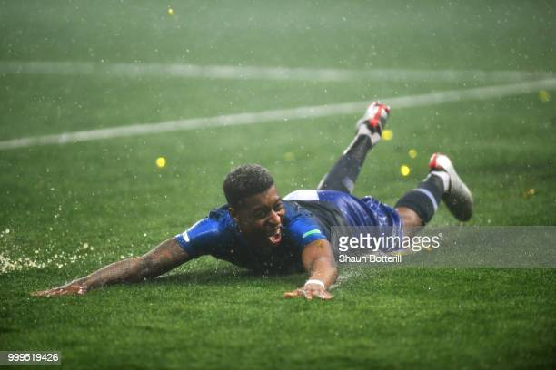 Presnel Kimpembe of France celebrates victory following the 2018 FIFA World Cup Final between France and Croatia at Luzhniki Stadium on July 15 2018...