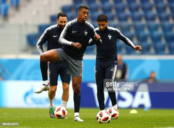 Presnel Kimpembe of France during the France Training Session and Press Conference at Saint Petersburg Stadium on July 9 2018 in Saint Petersburg...