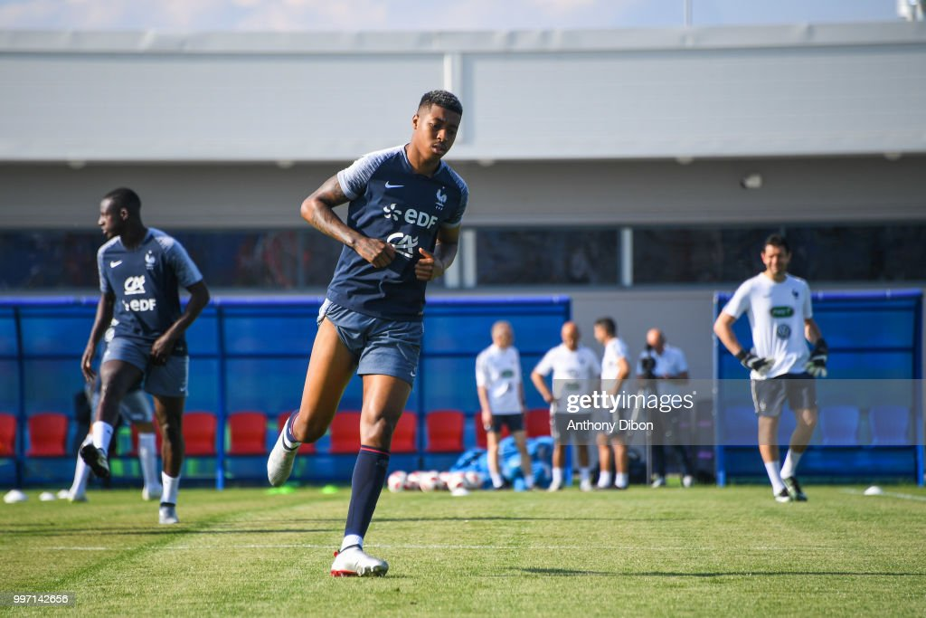 Presnel Kimpembe of France during the training France on July 12, 2018 in Moscow, Russia.