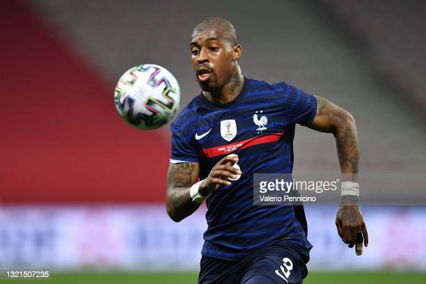 Presnel Kimpembe of France in action during the international friendly match between France and Wales at Allianz Riviera on June 2, 2021 in Nice,...