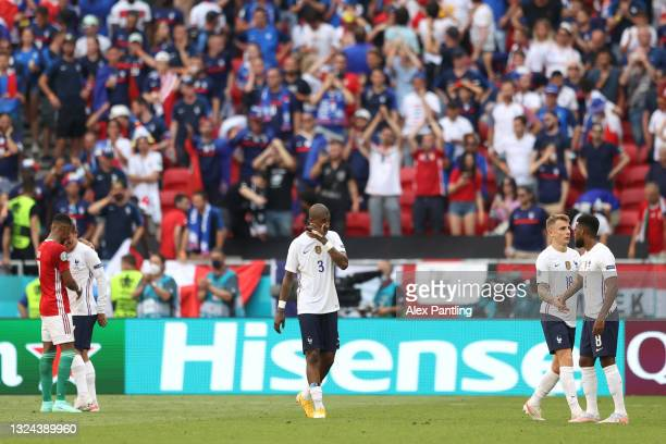 Presnel Kimpembe of France looks dejected following the UEFA Euro 2020 Championship Group F match between Hungary and France at Puskas Arena on June...