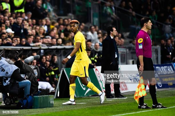 Presnel Kimpembe of Paris leave the pitch after recevied the red card during the Ligue 1 match between AS SaintEtienne and Paris Saint Germain at...