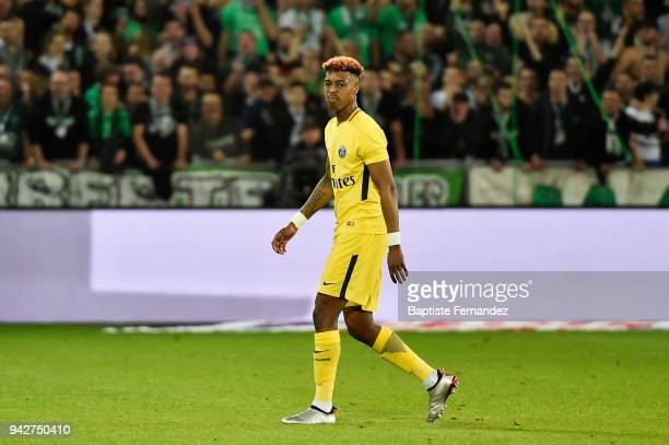 Presnel Kimpembe of Paris peace the pitch after a red card during the Ligue 1 match between AS SaintEtienne and Paris Saint Germain at Stade...