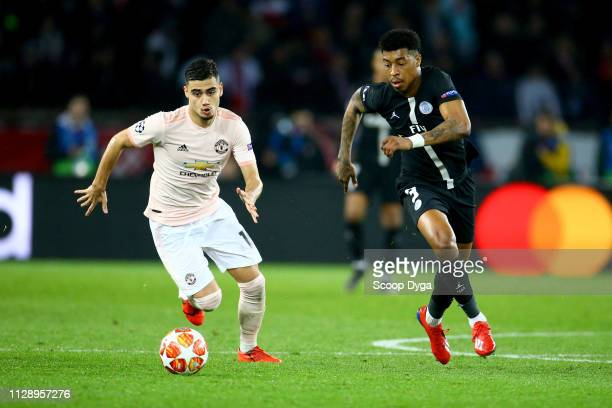 Presnel Kimpembe of Paris Saint Germain and Andreas Pereira of Manchester United during the UEFA Champions League Round of 16 Second Leg match...