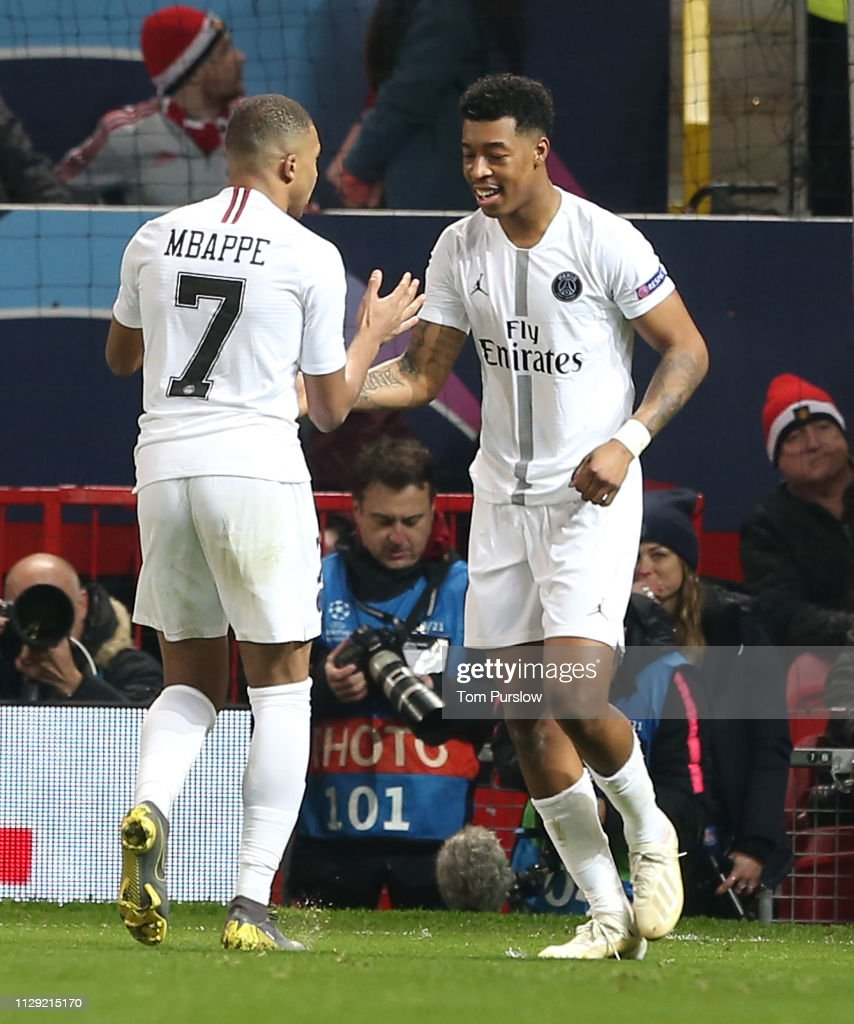 Uefa Champions League Round Of: Presnel Kimpembe Of Paris Saint-Germain Celebrates Scoring