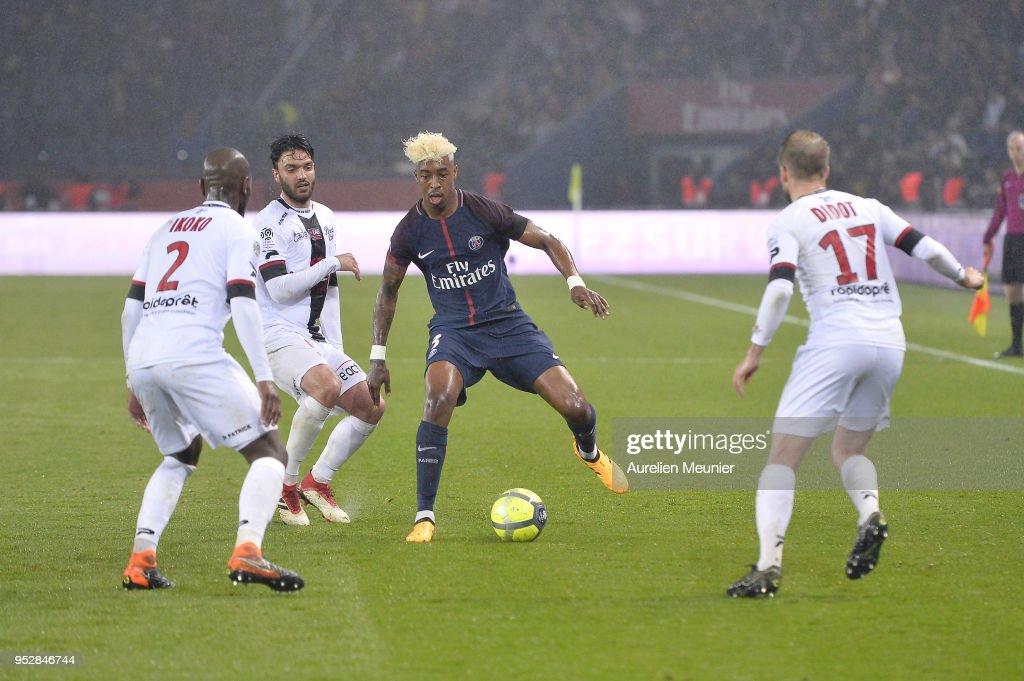 Presnel Kimpembe of Paris Saint-Germain runs with the ball during the Ligue 1 match between Paris Saint Germain and EA Guingamp at Parc des Princes on April 29, 2018 in Paris, France.