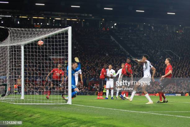 Presnel Kimpembe of Paris SaintGermain scores their 1st goal during the UEFA Champions League Round of 16 First Leg match between Manchester United...