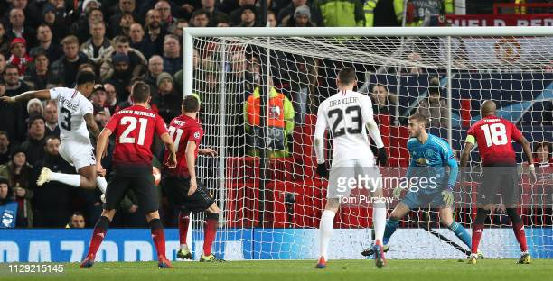 Presnel Kimpembe of Paris SaintGermain scores their first goal during the UEFA Champions League Round of 16 First Leg match between Manchester United...