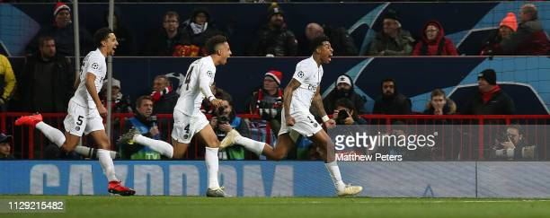 Presnel Kimpembe of Paris StGermain celebrates scoring their first goal during the UEFA Champions League Round of 16 First Leg match between...