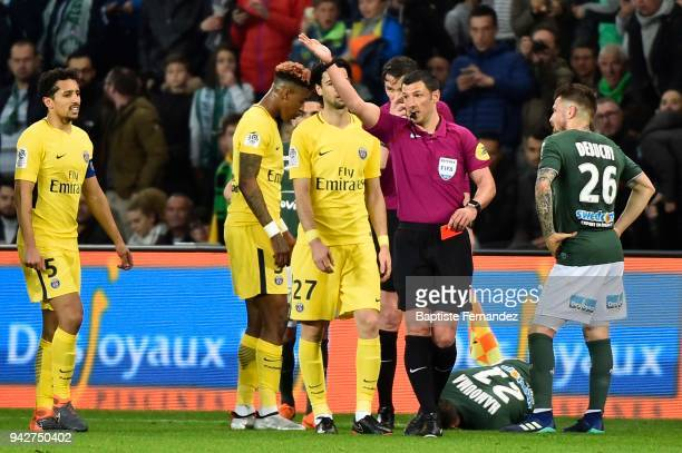 Presnel Kimpembe of Paris takes a red card by the referee Nicolas Rainville during the Ligue 1 match between AS SaintEtienne and Paris Saint Germain...
