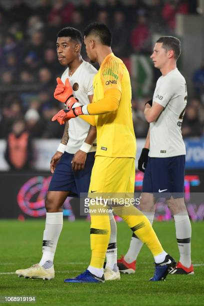 Presnel Kimpembe of PSG Alphonse Areola of PSG and Julian Draxler of PSG during the Ligue 1 match between RC Strasbourg and Paris Saint Germain on...
