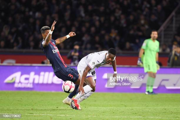Presnel Kimpembe of PSG and Aaron Leya Iseka of Toulouse during the Ligue 1 match between Paris Saint Germain and Toulouse at Parc des Princes on...