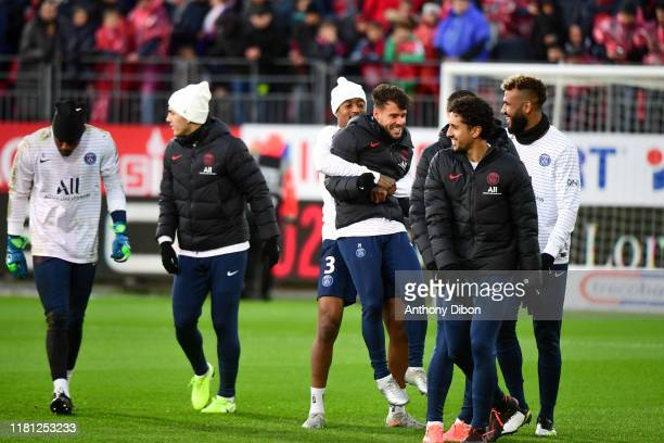 Presnel KIMPEMBE of PSG and Juan BERNAT of PSG during the Ligue 1 match between Brest and Paris Saint Germain at Stade FrancisLe Ble on November 9...