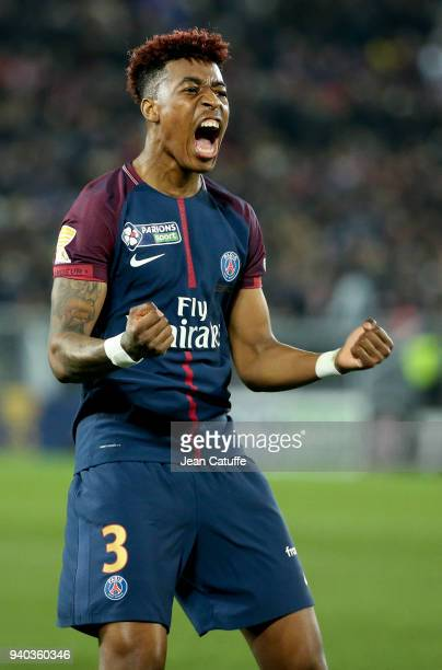 Presnel Kimpembe of PSG celebrates the third goal of PSG during the French League Cup final between Paris SaintGermain and AS Monaco on March 31 2018...