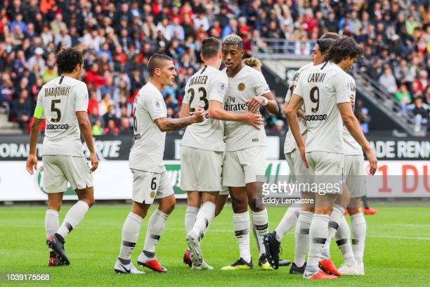 Presnel Kimpembe of PSG celebrates with teammates during the Ligue 1 match between Rennes and Paris Saint Germain at Roazhon Park on September 23...