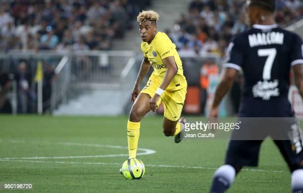 Presnel Kimpembe of PSG during the French Ligue 1 match between FC Girondins de Bordeaux and Paris Saint Germain at Stade Matmut Atlantique on April...