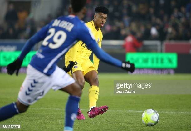 Presnel Kimpembe of PSG during the French Ligue 1 match between RC Strasbourg Alsace and Paris Saint Germain at Stade de la Meinau on December 2 2017...