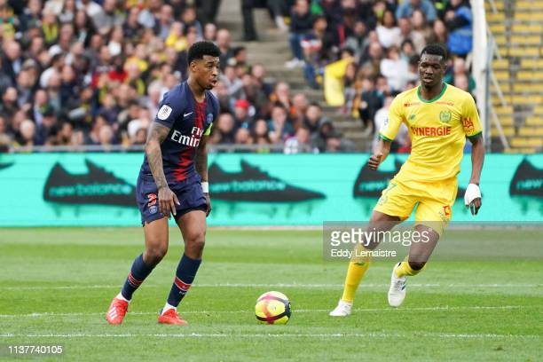 Presnel Kimpembe of PSG during the Ligue 1 match between Nantes and Paris Saint Germain at Stade de la Beaujoire on April 17, 2019 in Nantes, France.