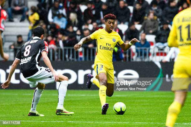 Presnel Kimpembe of PSG during the Ligue 1 match between OGC Nice and Paris Saint Germain at Allianz Riviera on March 18 2018 in Nice