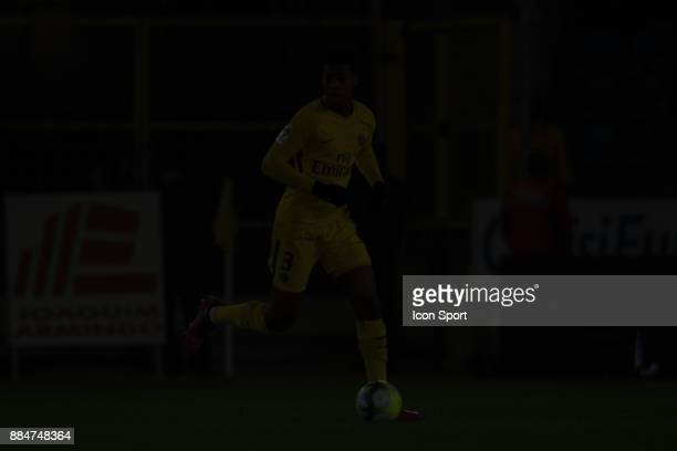 Presnel Kimpembe of PSG during the Ligue 1 match between Strasbourg and Paris Saint Germain at La Meinau Stadium on December 2 2017 in Strasbourg
