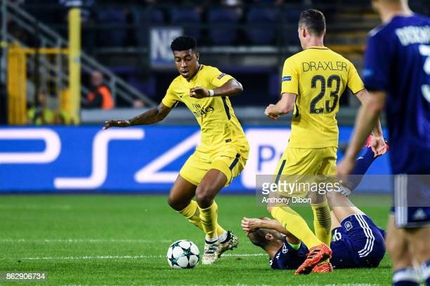 Presnel Kimpembe of PSG during the UEFA Champions League match between RSC Anderlecht and Paris Saint-Germain at Constant Vanden Stock Stadium on...