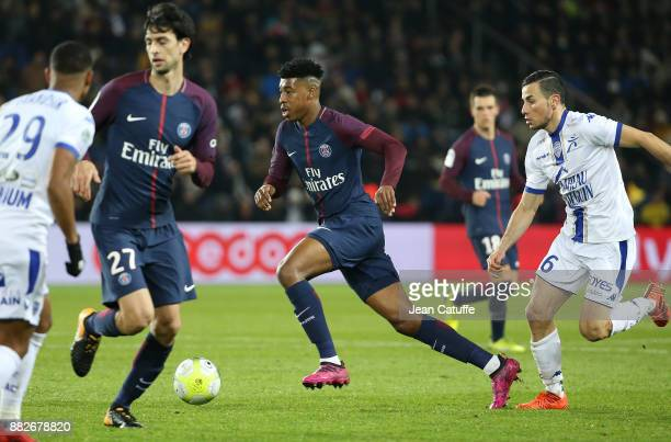 Presnel Kimpembe of PSG Karim Azamoum of Troyes during the French Ligue 1 match between Paris Saint Germain and Troyes ESTAC at Parc des Princes on...