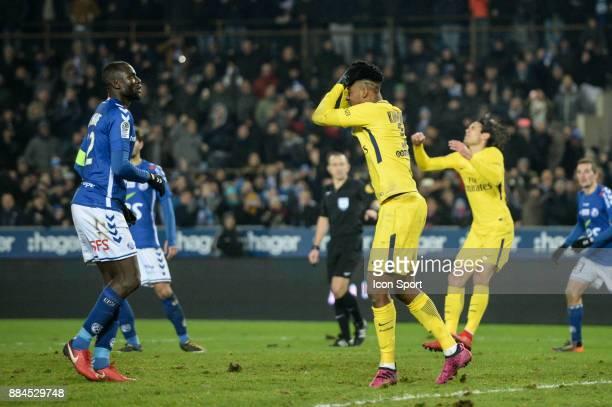 Presnel Kimpembe of PSG looks dejected during the Ligue 1 match between Strasbourg and Paris Saint Germain at La Meinau Stadium on December 2 2017 in...