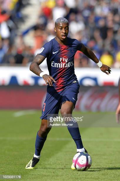 Presnel Kimpembe runs with the ball during the Ligue 1 match between Paris SaintGermain and Angers SCO at Parc des Princes on August 25 2018 in Paris...