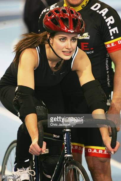 Presnter Kirsty Gallacher inb action at a cycling training session ahead of the new series of the reality TV show The Games, at the English Institute...