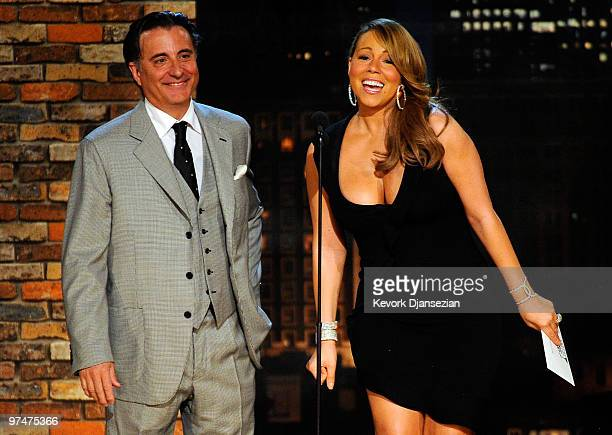 Presnters Andy Garcia and Mariah Carey onstage during the 25th Film Independent's Spirit Awards held at Nokia Event Deck at LA Live on March 5 2010...
