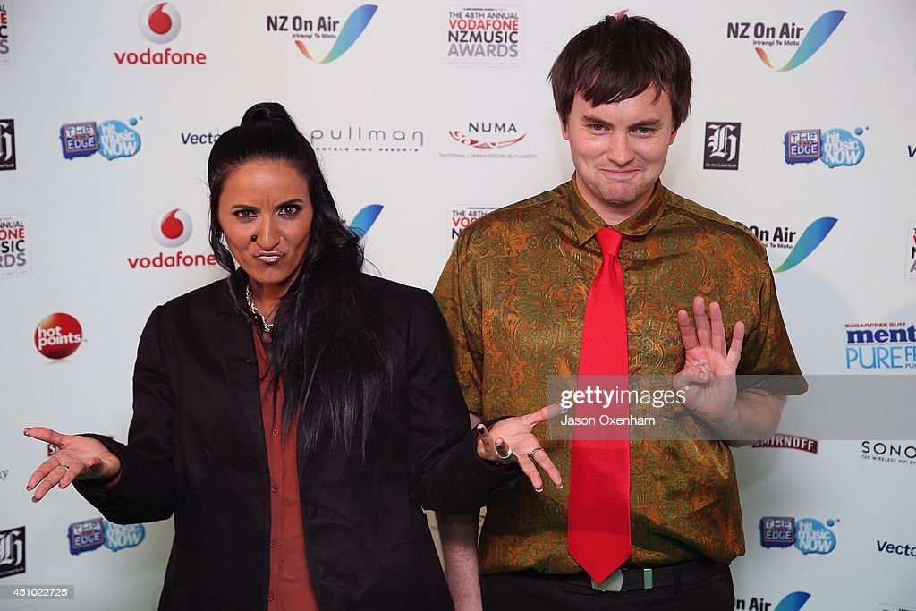 Presnters Madeleine Sami(L) and Thoma pose during the New Zealand Music Awards at the Vector Arena on November 21, 2013 in Auckland, New Zealand.